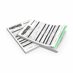 BLOCO DE TALÃO/ PEDIDO AUTOCOPIATIVO Ap. 56g Autocopiativo 21x15cm 1x0  Blocagem 50X2 - 100 folhas por bloco - Picote 1ª via