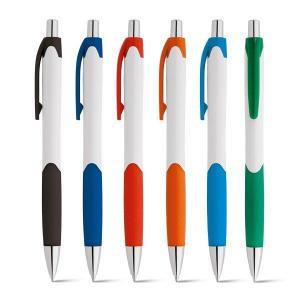 Caneta Caribe White Plástico ABS, Ponteira cromada. 140x10mm   Acabamento brilhante Escrita em Azul
