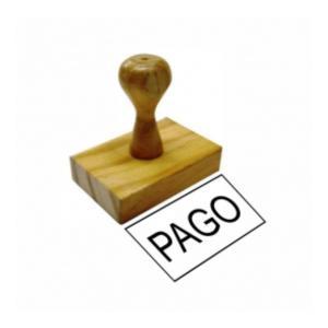 Carimbo Tradicional - PAGO  Madeira    tamanho da arte 6X3cm