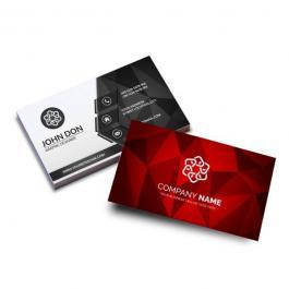 Cartão de visita Couchê 250g 9x5cm 4x1 Verniz Total Brilho Frente Corte Reto